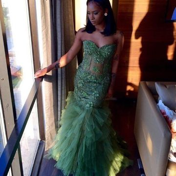 Green Prom Dresses 2019 Mermaid Sleeveless African