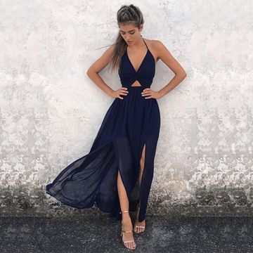 Long Prom Dresses 2019 Halter V-Neck Open Back Chiffon Sexy