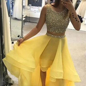 Yellow Long High-Low Prom Dresses 2019 A-line Sleeveless For Short Girls Two Piece