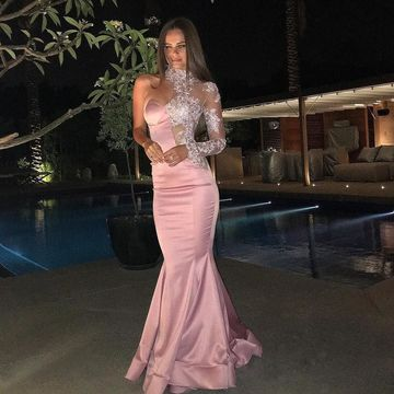 Pink Long Prom Dresses 2019 Mermaid Long Sleeves Lace
