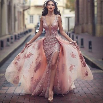 Pink Long Prom Dresses 2019 A-line V-Neck