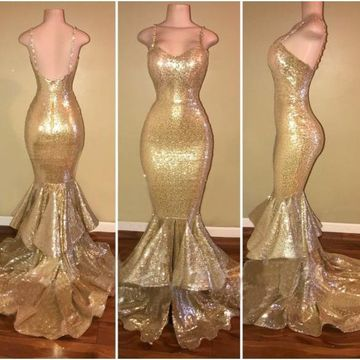 Gold Sequin Long Prom Dresses 2019 Mermaid
