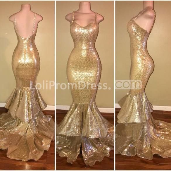49 Off Gold Sequin Long Prom Dresses 2019 Mermaid