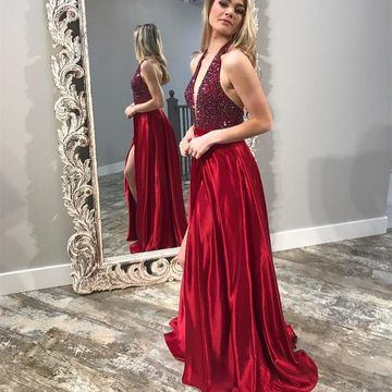 Red Long Prom Dresses 2019 A-line Halter V-Neck