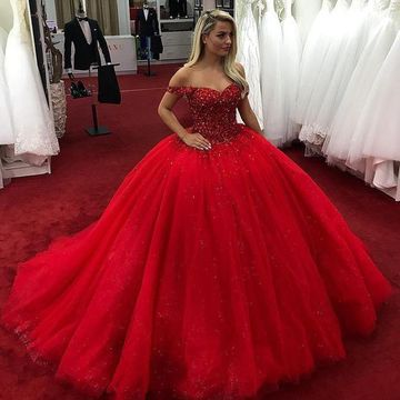 2e6930ec25b 49%OFF Red Long Prom Dresses 2019 Ball Gown – lolipromdress.com