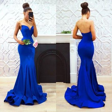 Royal Blue Long Prom Dresses 2019 Mermaid Sleeveless