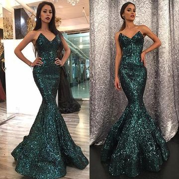 Green Long Prom Dresses 2019 Mermaid Sleeveless
