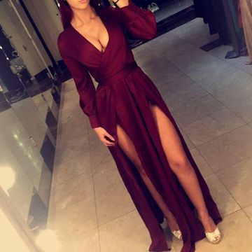 Burgundy Long Prom Dresses 2019 A-line V-Neck Long Sleeves Sexy