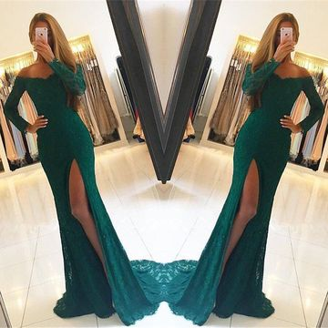 Green Long Prom Dresses 2019 Mermaid Long Sleeves Lace