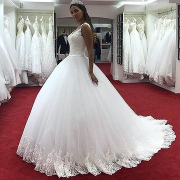 17a5ab7fbba454 49%OFF Long Wedding Dresses 2019 Ball Gown V-Neck Sleeveless Lace ...