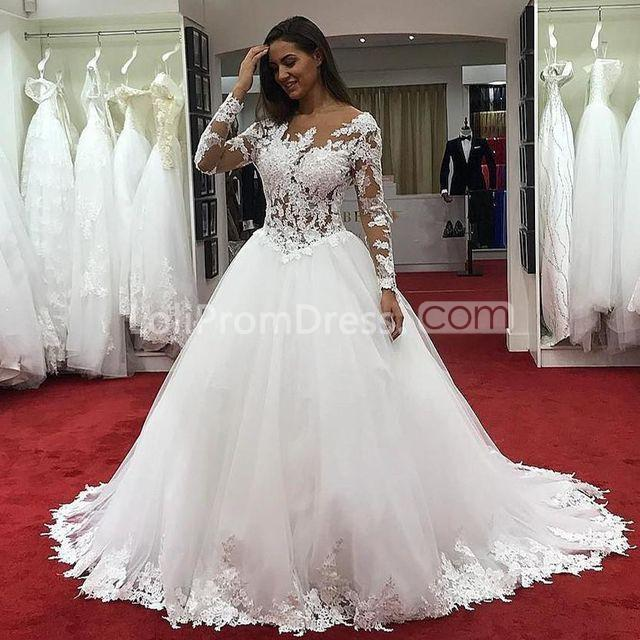 49off Long Wedding Dresses 2019 Ball Gown Long Sleeves Lace