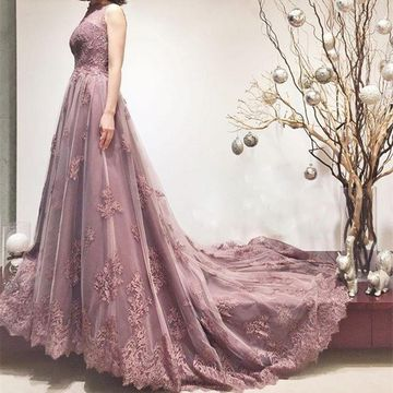 Long Prom Dresses 2019 A-line Sleeveless Lace