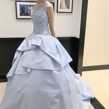 Blue Long Prom Dresses 2019 Ball Gown Sleeveless Lace