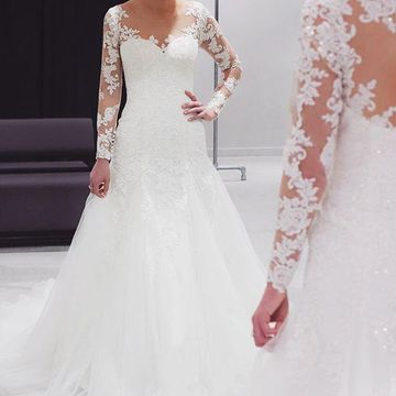 ceffed0a61b 49%OFF Illusion Long Sleeves 2019 A-line Wedding Dress Lace ...