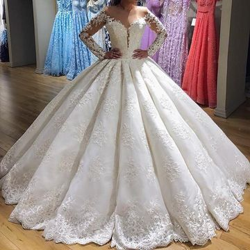 Illusion Long Sleeves Lace 2019 Ball Gown Wedding Dress