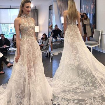 Sleeveless High Neck Illusion 2019 A-line Wedding Dress Lace