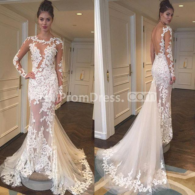 Discount Gothic Lace Wedding Dresses 2019 Plus Size A Line: 49%OFF Illusion Long Sleeves 2019 Mermaid Wedding Dress