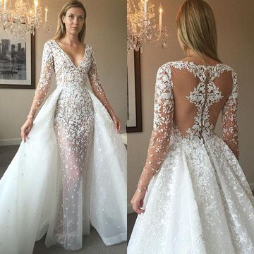 Wedding Dress With Sleeves.49 Off Illusion V Neck Long Sleeves 2019 A Line Lace Wedding Dress