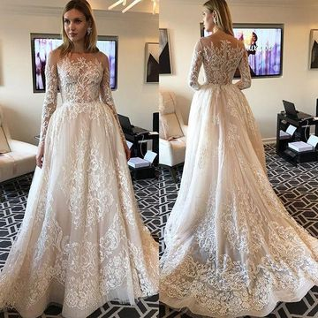 49off Illusion Long Sleeves 2019 Lace A Line Wedding Dress