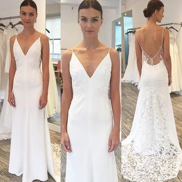 7410077ef7d4 49%OFF Spaghetti Straps Mermaid 2019 Simple Beach Wedding Dress V ...