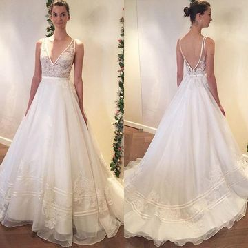 A Line Wedding Dress.49 Off V Neck Sleeveless Lace 2019 A Line Wedding Dress Open Back