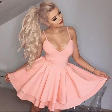 Pink Spaghetti Straps Simple A-line 2019 Homecoming Dress V-Neck