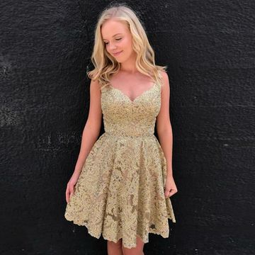Gold Straps Sweetheart Lace 2019 Homecoming Dress A-line
