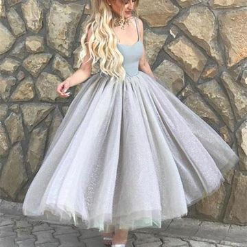 Grey Spaghetti Straps A-line Tulle 2019 Prom Dress