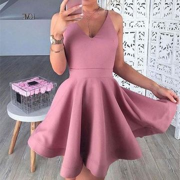 Pink Spaghetti Straps V-neck A-line 2019 Homecoming Dress