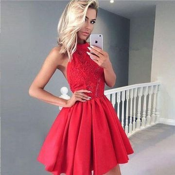 Red Halter Lace A-line Backless Short 2019 Homecoming Dress Sleeveless Open Back