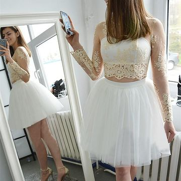 White Long Sleeves Lace Two Piece 2020 Homecoming Dress A-line