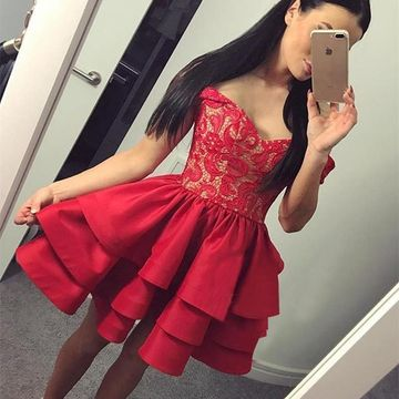 Red Off the Shoulder Lace A-line 2019 Homecoming Dress