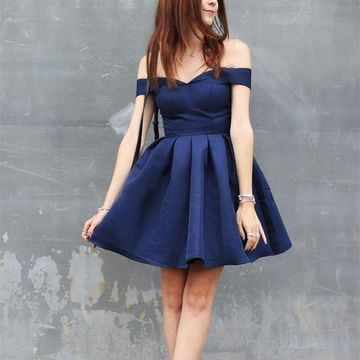 Navy Blue Off the Shoulder A-line Simple 2019 Homecoming Dress