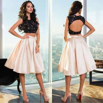 Sleeveless Lace A-line 2020 Two Piece Homecoming Dress