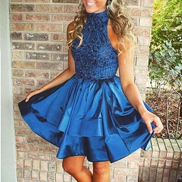 Blue Sleeveless Beading A-line 2019 Homecoming Dress