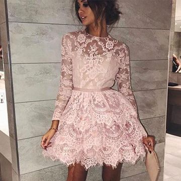 Pink Long Sleeves A-line 2020 Lace Homecoming Dress