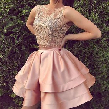 Pink Round Neck Sleeveless A-line 2019 Two Piece Homecoming Dress