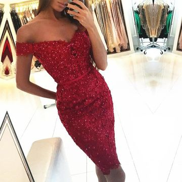 Red Off the Shoulder Sheath Lace 2019 Homecoming Dress