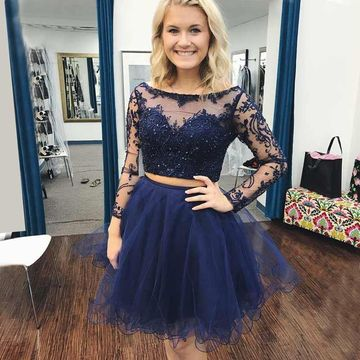 Dark Navy Long Sleeves Beading A-line 2019 Two Piece Homecoming Dress