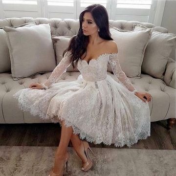 White Off the Shoulder Long Sleeves 2019 A-line Homecoming Dress Lace