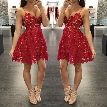 Red Spaghetti Straps A-line 2019 Lace Homecoming Dress V-Neck