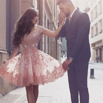 Pink Off the Shoulder Lace Appliques A-line 2020 Homecoming Dress