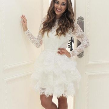 White Round Neck Long Sleeves A-line 2019 Homecoming Dress Lace