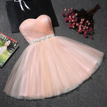Pink Sweetheart Tulle Ruched A-line 2019 Homecoming Dress
