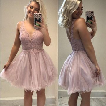 Pink V-neck Sleeveless A-line 2019 Homecoming Dress Lace