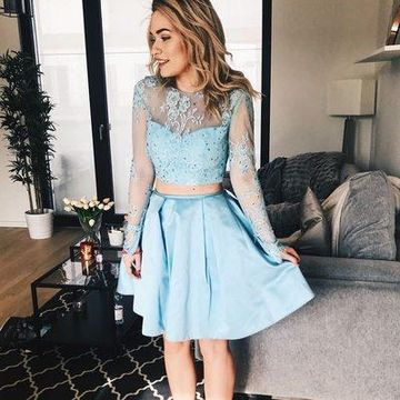 Blue Long Sleeves A-line Lace 2019 Two Piece Homecoming Dress