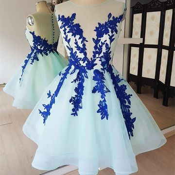 Blue Round Neck Illusion Appliques A-line 2019 Homecoming Dress Sleeveless Lace