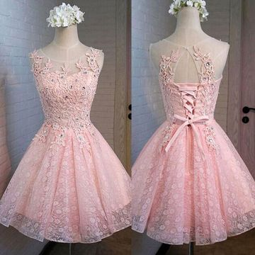 Pink Round Neck Sleeveless A-line 2020 Homecoming Dress Lace
