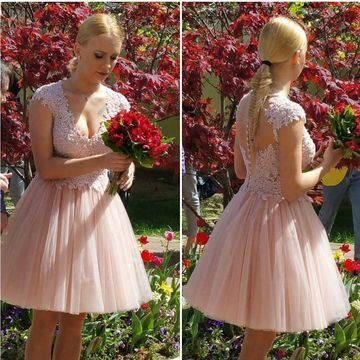 Pink Capped Sleeves V-neck A-line 2020 Homecoming Dress Lace