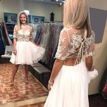 White Half Sleeves Lace A-line 2019 Homecoming Dress Chiffon